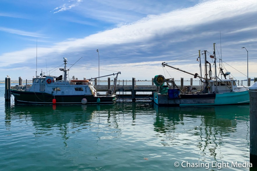 Fishing boats, morning, Plymouth, Massachusetts