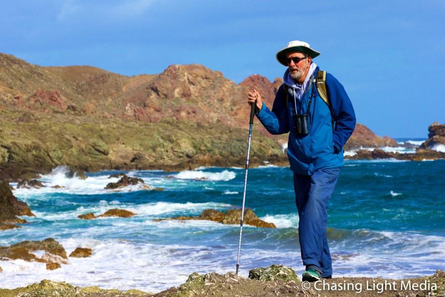 Naturalist Paul Jones hiking Islas San Benito
