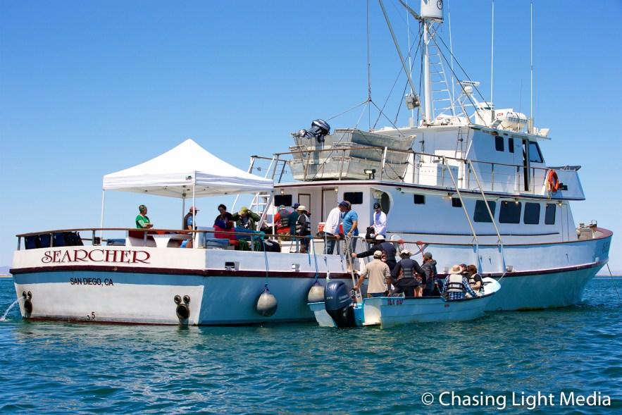 Captain Art Taylor with BirdQuest passengers, San Ignacio