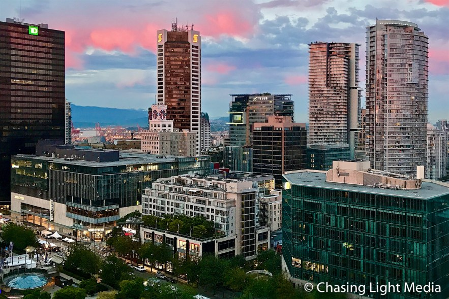 Downtown Vancouver at sunset, Vancouver, Canada