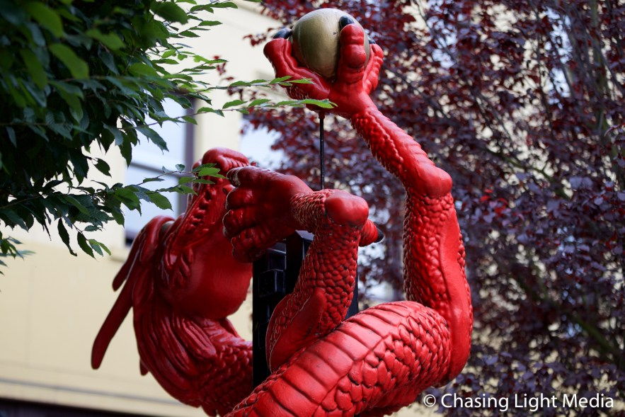 Red dragon sculpture, Chinatown, Victoria, Vancouver Island