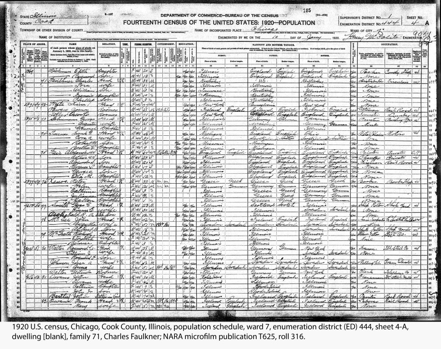 1920 U.S. census, Chicago, Cook County, Illinois, population schedule, ward 7, enumeration district (ED) 444, sheet 4-A, dwelling [blank], family 71, Charles Faulkner; NARA microfilm publication T625, roll 316.