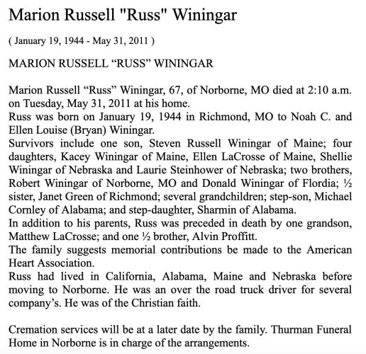 """Marion Russell 'Russ' Winingar,"" obituary, Thurman Funeral Home website (Norborne, Missouri), 31 May 2011."