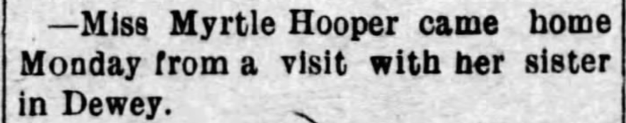 """""""Myrtle Hooper Visits Sister in Dewey,"""" news article, The Caney News (Caney, Kansas), 4 Feb 1910, p. 8, col. 2."""