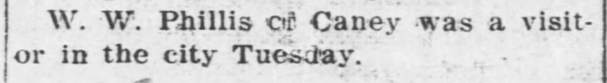 """W. W. Phillis of Caney in Coffeyville,"" news article, The Coffeyville Weekly Journal (Coffeyville, Kansas), 24 Sep 1909, p. 3, col. 5."