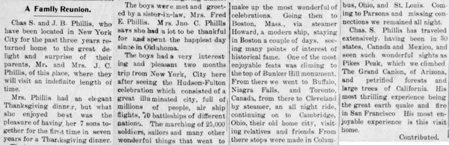 """A Family Reunion, Chas. S. and J. B. Phillis Return,"" news article, The Dewey World (Dewey, Oklahoma), 2 Dec 1909, p. 8, col. 1."