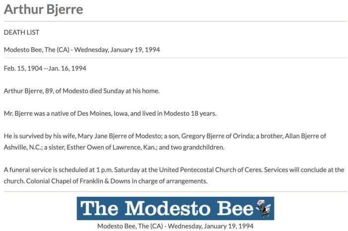 """Arthur Bjerre,"" obituary, Modesto Bee online edition (Modesto, California), 19 Jan 1994."