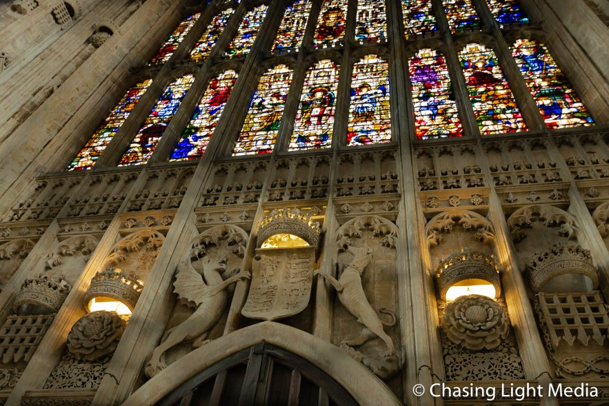 King's College chapel stained glass window, Cambridge, England