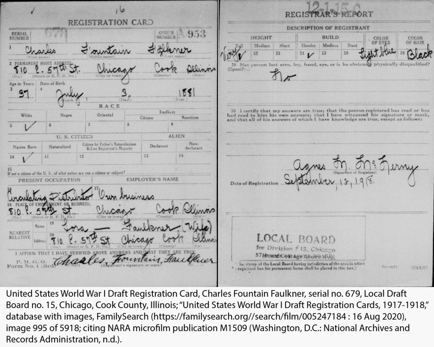 United States World War I Draft Registration Card, Charles Fountain Faulkner, serial no. 679, Local Draft Board no. 15, Chicago, Cook County, Illinois