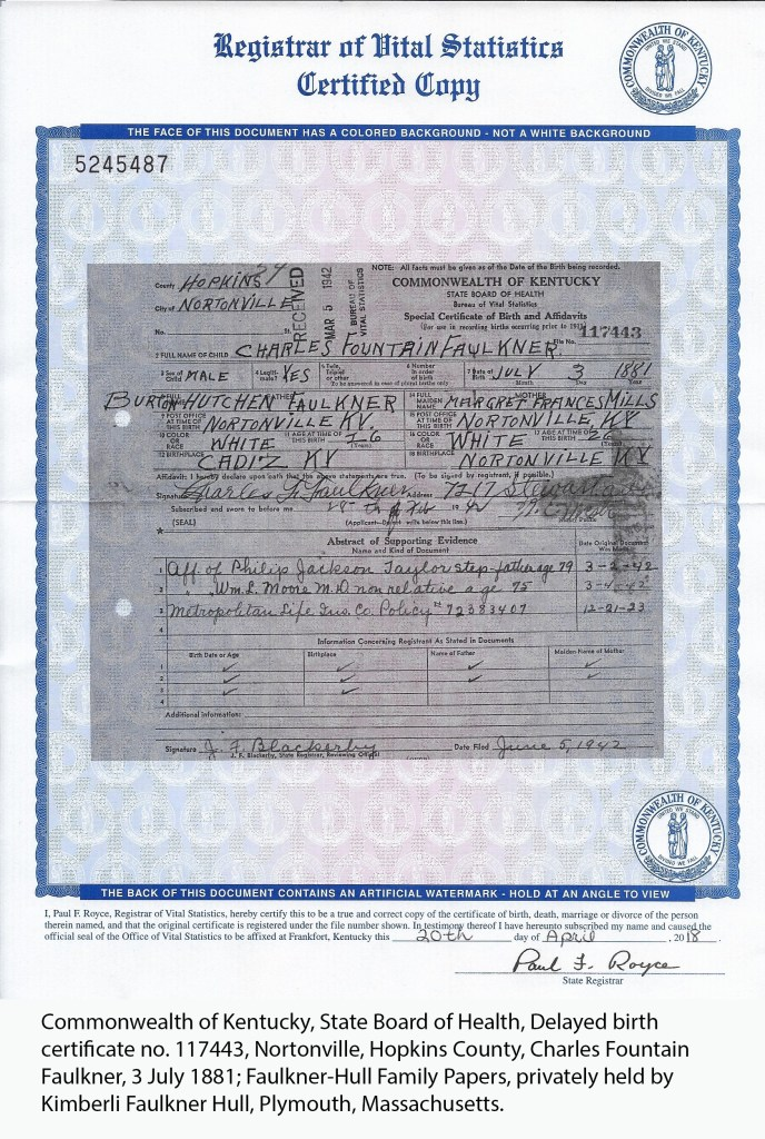 Faulkner, Charles Fountain, delayed birth certificate, 1881