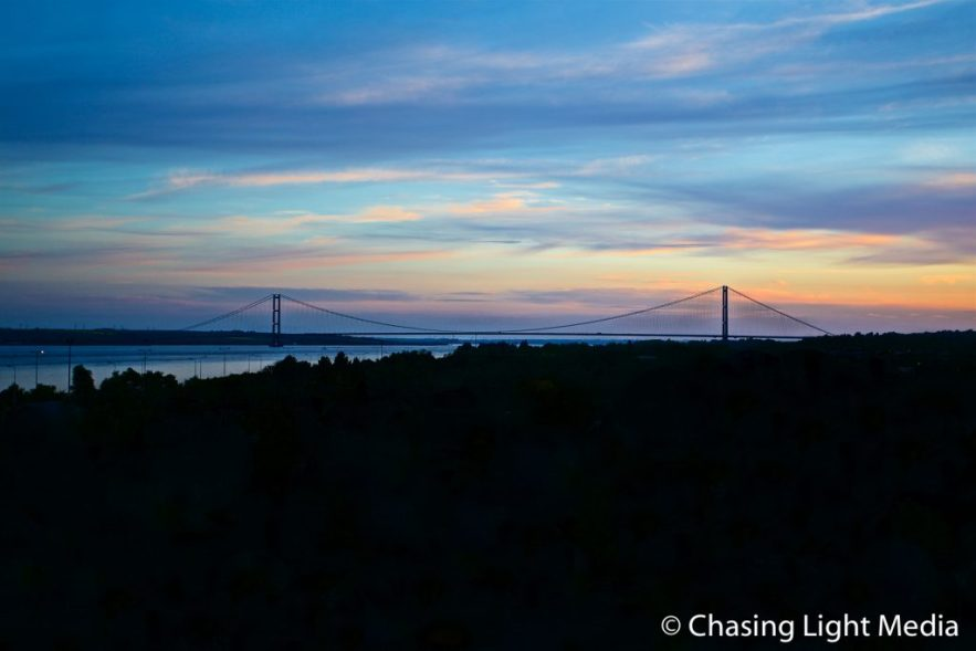 Humber Bridge in Hull at sunset