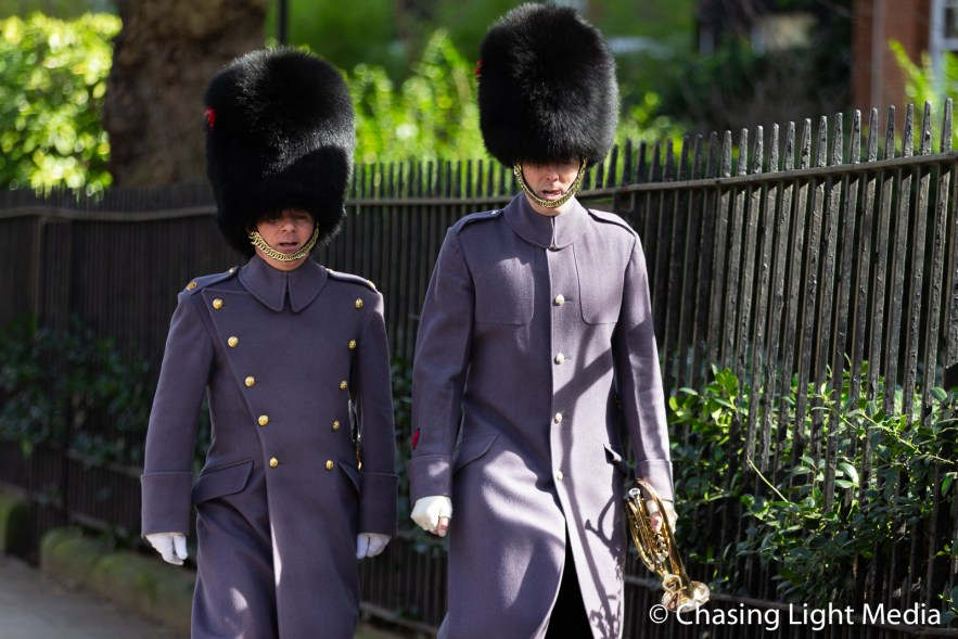 Members of the Queen's Guard on the way to Buckingham Palace