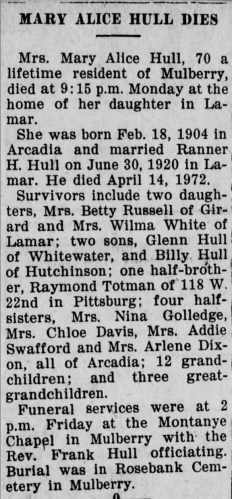 """""""Mary Alice Hull Dies,"""" obituary, News-Journal (Mulberry, Kansas), 18 Oct 1974, p. 1, col. 2."""