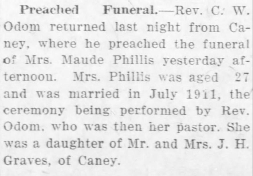 """Maude Graves Phillis,"" funeral notice, Cherryvale Republican (Cherryvale, Kansas), 26 Mar 1913, p 1, col. 3."