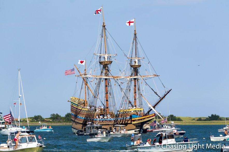 Boats greet the Mayflower II as it arrives in Plymouth