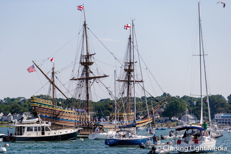 Arrival of Mayflower II in Plymouth, Massachusetts