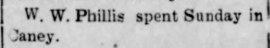 """W.W. Phillis Visits Caney,"" newspaper article, The Dewey World (Dewey, Oklahoma), 3 Feb 1910, p. 5, col. 1."