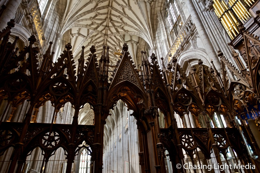 Elaborate wooden carvings of Winchester Cathedral choir stalls