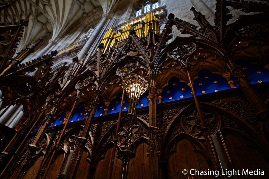Lighting in choir stalls of Winchester Cathedral