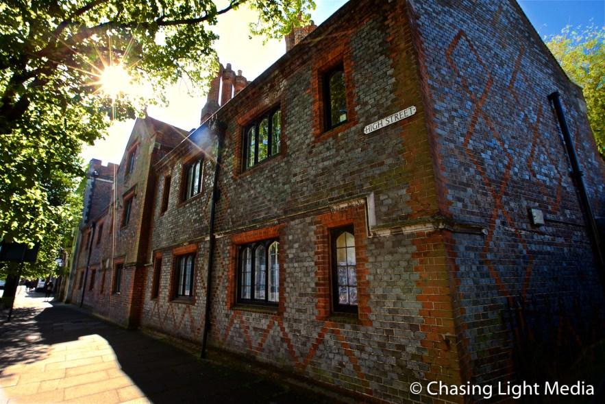 Brick building on High Street, Winchester, England