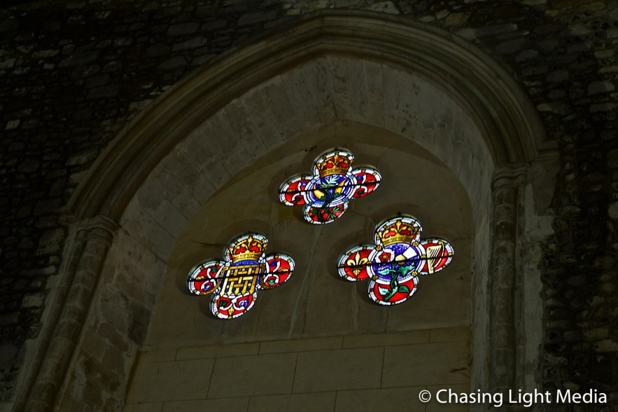 Stained glass in the Great Hall of Winchester Castle