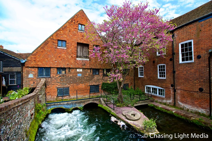 Water from the River Itchen rushing under the Winchester City Mi