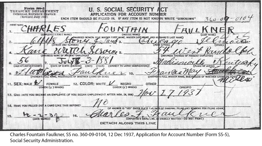 Charles Fountain Faulkner, SS no. 360-09-0104, 12 Dec 1937, Application for Account Number (Form SS-5), Social Security Administration.