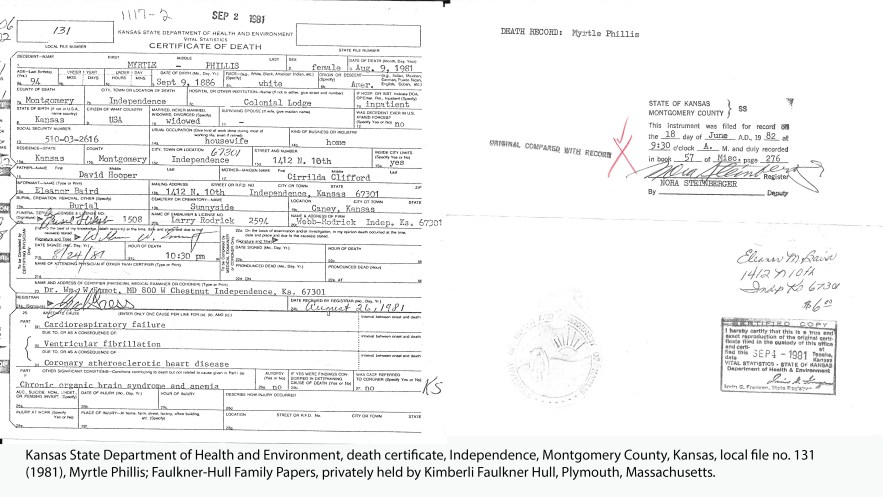 Kansas State Department of Health and Environment, death certificate, Independence, Montgomery County, Kansas, local file no. 131 (1981), Myrtle Phillis
