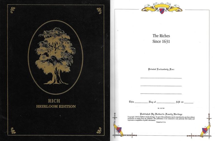 Rich Heirloom Edition, Halbert's Family Heritage, 1999.