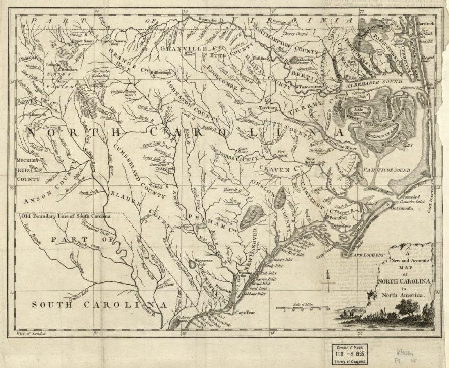 1779 North Carolina map, Library of Congress, Geography and Map Division