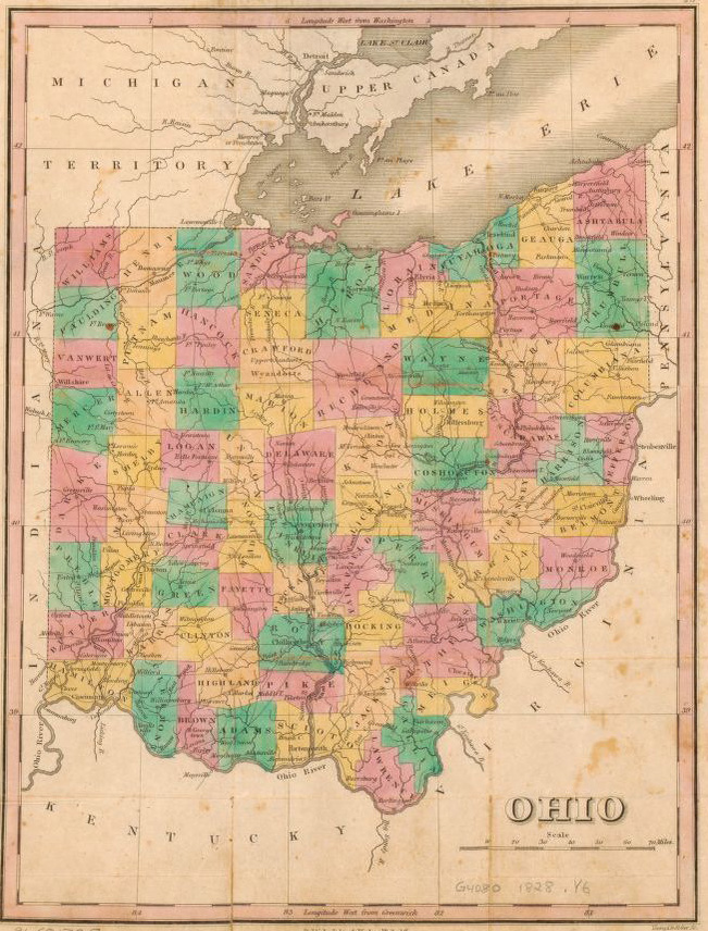 1828 Ohio map, Library of Congress, Geography and Map Division