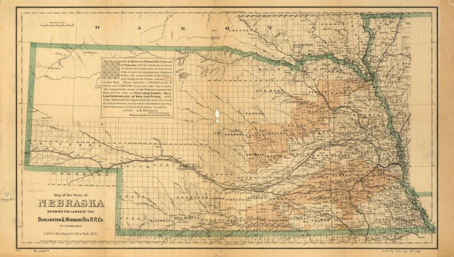 1876 Nebraska map, Library of Congress, Geography and Map Division