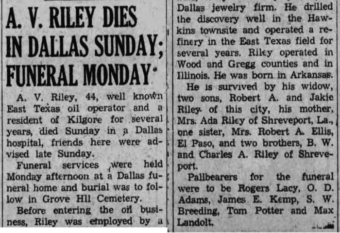 """""""A. V. Riley Dies in Dallas Sunday, Funeral Monday,"""" obituary, The Kilgore News Herald (Kilgore, Texas), 8 Mar 1943, p. 1, col. 3."""