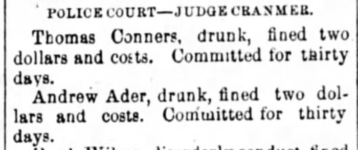 """Andrew Ader Fined and Committed,"" news article, The Wheeling Daily Register (Wheeling, West Virginia), 8 July 1877, p. 4, col. 5."