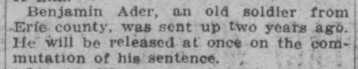 """Benjamin Ader Sentence Commuted,"" news article, Cincinnati Commercial Tribune (Cincinnati, Ohio), 11 Dec 1909, p. 2. col. 3."