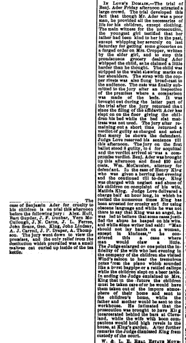 """""""Benjamin Ader Trial,"""" newspaper article, The Steubenville Weekly Herald (Steubenville, Ohio), 15 Aug 1890, p. 3, col. 1-2."""