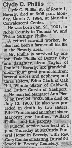 """Clyde C. Phillis,"" obituary, Marietta Times (Marietta, Ohio); Obituary Clippings, p. 37, Washington County Public Library, Marietta, Ohio."