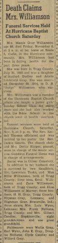 """Death Claims Mrs. Williamson,"" obituary, The Cadiz Record (Cadiz, Kentucky), 14 Nov 1963, p. 1, col. 2."