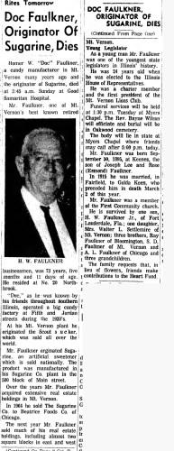 """""""Doc Faulkner, Originator of Surarine Dies,"""" obituary, Mt. Vernon Register-News (Mt Vernon, Illinois), 12 May 1969, p. 1, col. 3."""