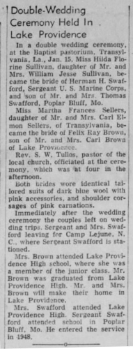 """Double-Wedding Ceremony Held in Lake Providence,"" marriage announcement, The Monroe News-Star (Monroe, Louisiana), 28 Jan 1952, p. 5, col. 5."