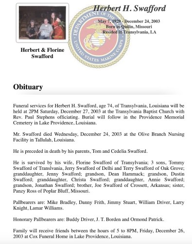"""Herbert H. Swafford,"" obituary, Cox Funeral Home website (Lake Providence, Louisiana), 24 Dec 2003."