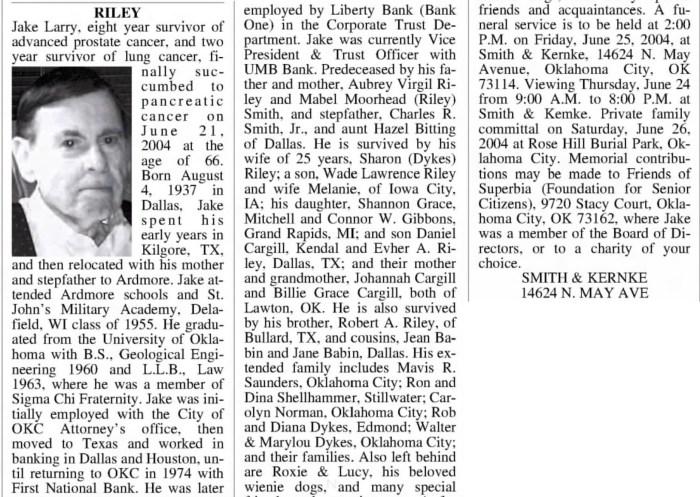 """""""Jake Larry Riley,"""" obituary, The Daily Oklahoman (Oklahoma City, Oklahoma), 24 June 2004, p. 13, col. 4."""