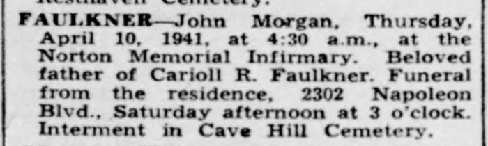 """John Morgan Faulkner,"" obituary, The Courier-Journal (Louisville, Kentucky), 12 Apr 1941, p. 18, col. 3."
