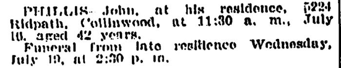 """""""John Phillis,"""" death notice, The Plain Dealer (Cleveland, Ohio), 18 July 1911, p. 14, col. 1."""