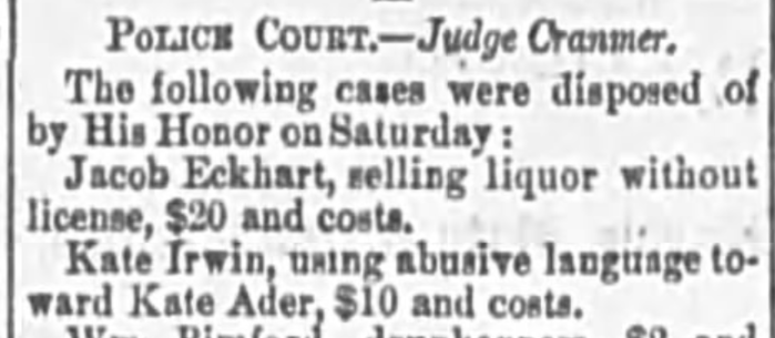 """""""Kate Irwin Fined for Using Abusive Language Toward Kate Ader,"""" news article, The Wheeling Daily Intelligencer (Wheeling, West Virginia), 18 June 1877, p. 4, col. 3."""