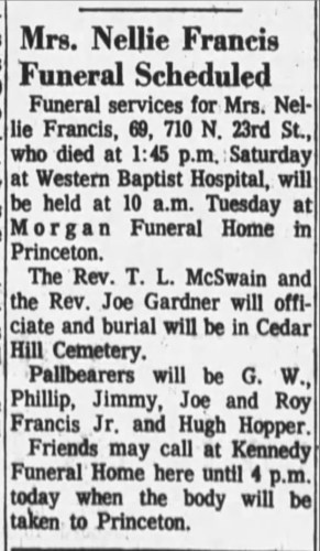 """Mrs. Nellie Francis Funeral Scheduled,"" funeral notice, The Paducah Sun (Paducah, Kentucky), 29 Aug 1966, p. 2, col. 7."