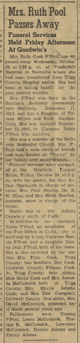 """Mrs. Ruth Pool Passes Away,"" obituary, The Cadiz Record (Cadiz, Kentucky), 31 Oct 1963, p. 1, col. 4."