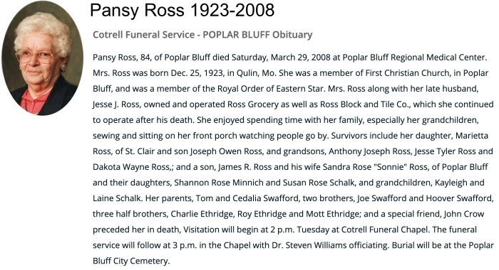 """Pansy Ross,"" obituary, Cotrell Funeral Service website (Poplar Bluff, Missouri), 29 Mar 2008."