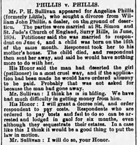 """Phillis v. Phillis,"" William John Phillis and Angelina Little divorce notice, The Sydney Morning Herald (Sydney, New South Wales, Australia), 6 Sept 1898, p. 3, col. 7."