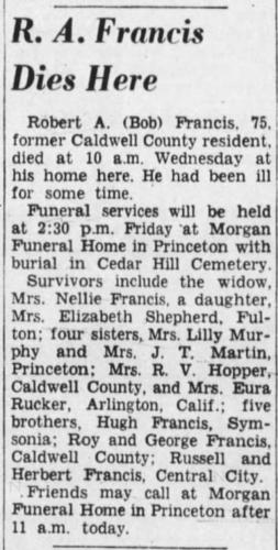 """""""R. A. Francis Dies Here,"""" obituary, The Paducah Sun (Paducah, Kentucky), 19 May 1960, p. 4, col. 6."""